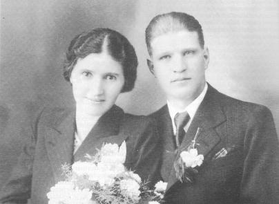 Poročna slika Ančke in Jožeta Šimnovec leta 1939