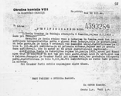 Vosovsko poročilo o umoru Pavle Urankar in Vande Fajdiga