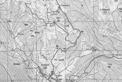 Zagomila pri Grgarju - Topografska karta Kanal 1 : 25 000