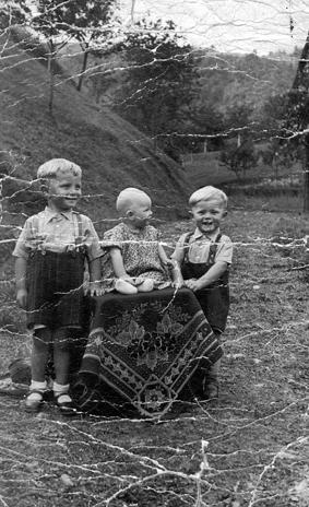 Logarjevi otroci dve leti prej: Pavel, Francka, Janez