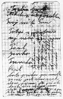 Del Francetovega zadnjega pisma družini