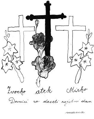 Iz spominske knjige Danice Pirc (trije križi)
