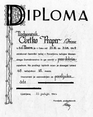 Častniška diploma Cveta Praperja